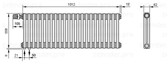 Стальной трубчатый радиатор 3-колончатый Zehnder Completto 3050/20