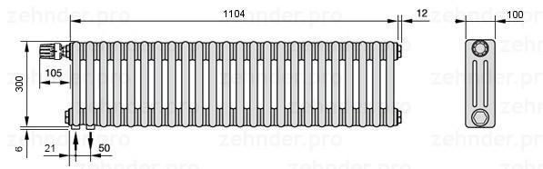 Стальной трубчатый радиатор 3-колончатый Zehnder 3030/24 Completto
