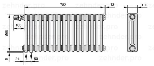 Стальной трубчатый радиатор 3-колончатый Zehnder Charleston 3057/17 TL