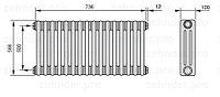 Стальной трубчатый радиатор 3-колончатый Zehnder 3057/8 TL