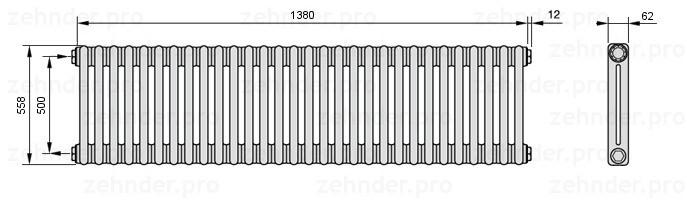 Стальной трубчатый радиатор 3-колончатый Zehnder 3057/30