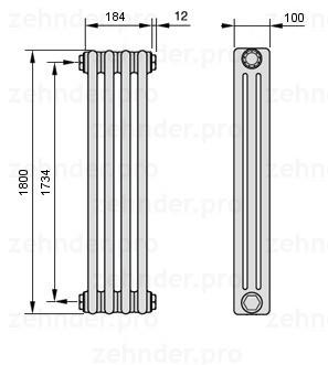 Стальной трубчатый радиатор 3-колончатый Zehnder 3057/24 TL