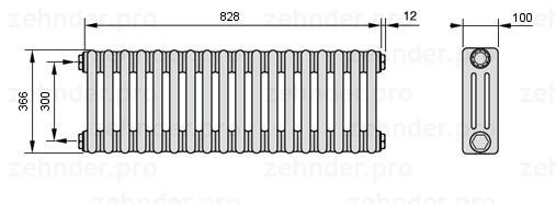 Стальной трубчатый радиатор 3-колончатый Zehnder 3037/14