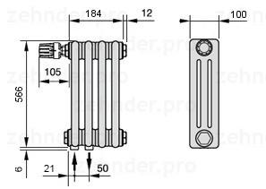 Стальной трубчатый радиатор 3-колончатый Zehnder Charleston 3057/4 TL