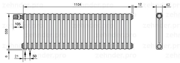 Стальной трубчатый радиатор 3-колончатый Zehnder Completto 3050/26