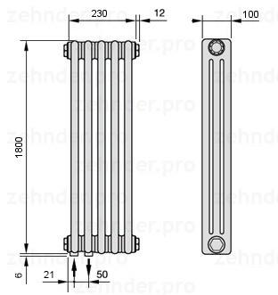 Стальной трубчатый радиатор 3-колончатый Zehnder 3180/5