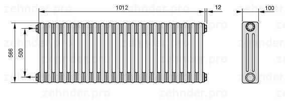 Стальной трубчатый радиатор 3-колончатый Zehnder 3057/10 TL