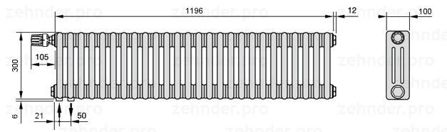 Стальной трубчатый радиатор 3-колончатый Zehnder 3030/30 Completto