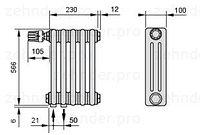 Стальной трубчатый радиатор 3-колончатый Zehnder Charleston 3057/5 TL