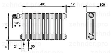 Стальной трубчатый радиатор 3-колончатый Zehnder 3030/8 Completto