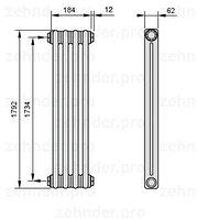 Стальной трубчатый радиатор 3-колончатый Zehnder 3037/16
