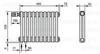 Стальной трубчатый радиатор 3-колончатый Zehnder Completto 3050/8