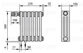 Стальной трубчатый радиатор 3-колончатый Zehnder Charleston 3057/6 TL
