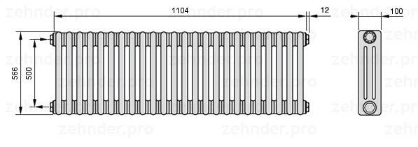 Стальной трубчатый радиатор 3-колончатый Zehnder 3057/12 TL