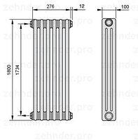 Стальной трубчатый радиатор 3-колончатый Zehnder 3057/28 TL
