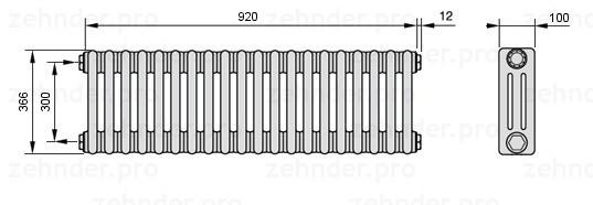 Стальной трубчатый радиатор 3-колончатый Zehnder 3037/18