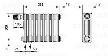 Стальной трубчатый радиатор 3-колончатый Zehnder 3030/10 Completto