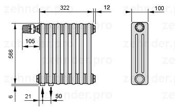 Стальной трубчатый радиатор 3-колончатый Zehnder Charleston 3057/7 TL
