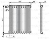 Стальной трубчатый радиатор 3-колончатый Zehnder 3180/12 Completto