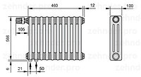 Стальной трубчатый радиатор 3-колончатый Zehnder Charleston 3057/8 TL