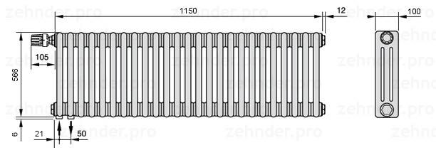 Стальной трубчатый радиатор 3-колончатый Zehnder Charleston 3057/25 TL