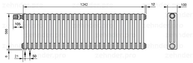 Стальной трубчатый радиатор 3-колончатый Zehnder Charleston 3057/27 TL
