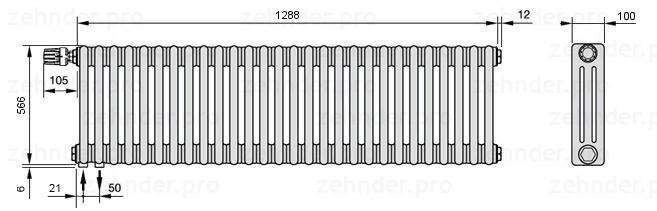 Стальной трубчатый радиатор 3-колончатый Zehnder Charleston 3057/28 TL