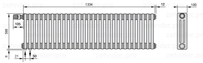 Стальной трубчатый радиатор 3-колончатый Zehnder Charleston 3057/29 TL