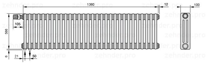 Стальной трубчатый радиатор 3-колончатый Zehnder Charleston 3057/30 TL