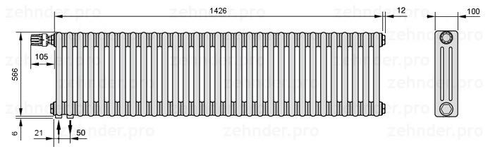 Стальной трубчатый радиатор 3-колончатый Zehnder Charleston 3057/31 TL