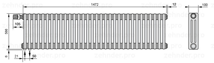 Стальной трубчатый радиатор 3-колончатый Zehnder Charleston 3057/32 TL