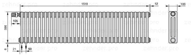 Стальной трубчатый радиатор 3-колончатый Zehnder Charleston 3057/33 TL