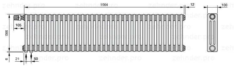 Стальной трубчатый радиатор 3-колончатый Zehnder Charleston 3057/34 TL