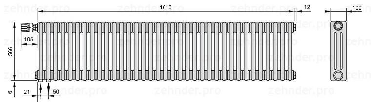 Стальной трубчатый радиатор 3-колончатый Zehnder Charleston 3057/35 TL