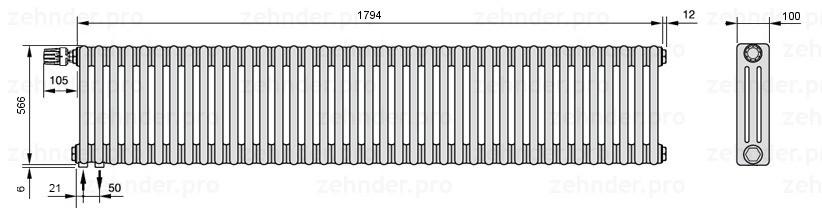 Стальной трубчатый радиатор 3-колончатый Zehnder Charleston 3057/39 TL
