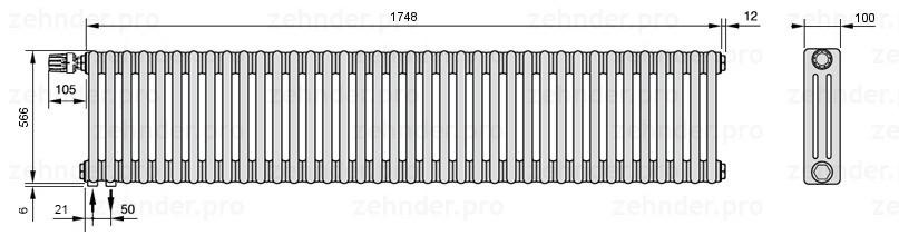 Стальной трубчатый радиатор 3-колончатый Zehnder Charleston 3057/38 TL