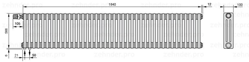 Стальной трубчатый радиатор 3-колончатый Zehnder Charleston 3057/40 TL