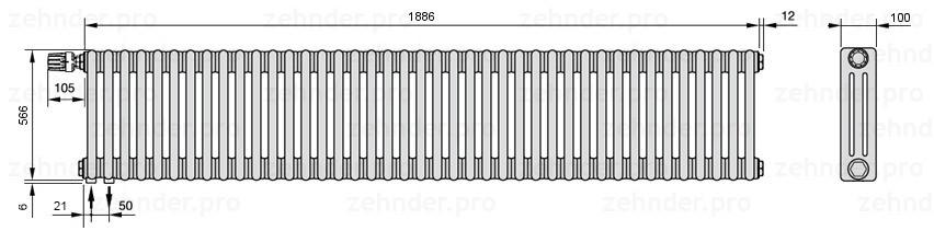 Стальной трубчатый радиатор 3-колончатый Zehnder Charleston 3057/41 TL