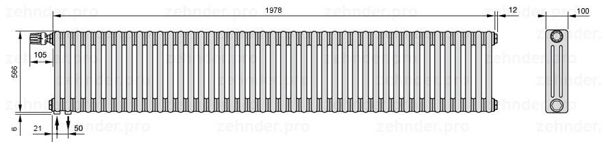 Стальной трубчатый радиатор 3-колончатый Zehnder Charleston 3057/43 TL