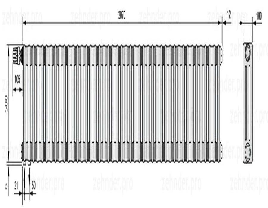 Стальной трубчатый радиатор 3-колончатый Zehnder Charleston 3057/45 TL