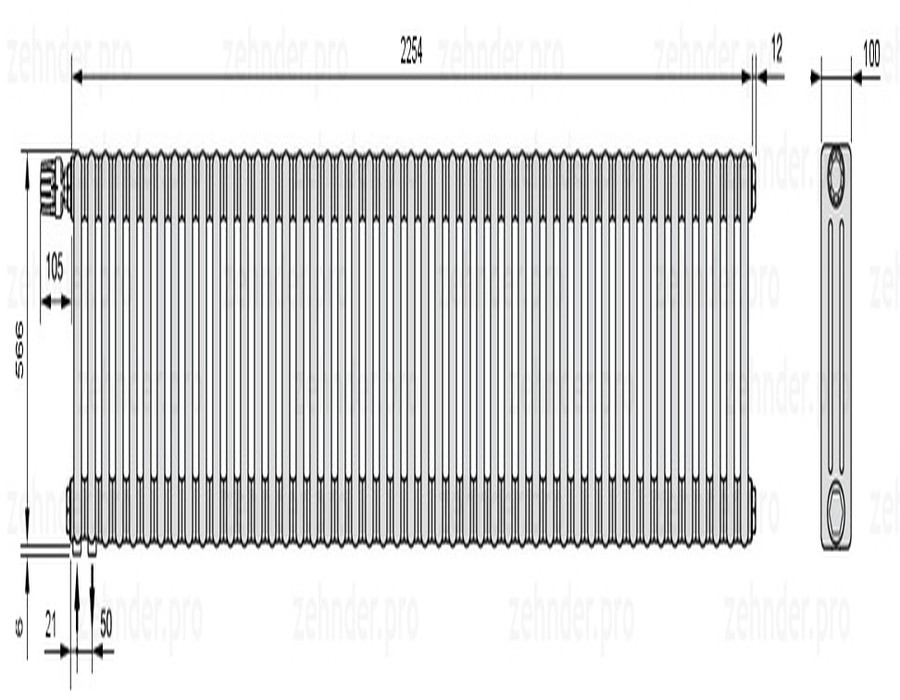 Стальной трубчатый радиатор 3-колончатый Zehnder Charleston 3057/49 TL