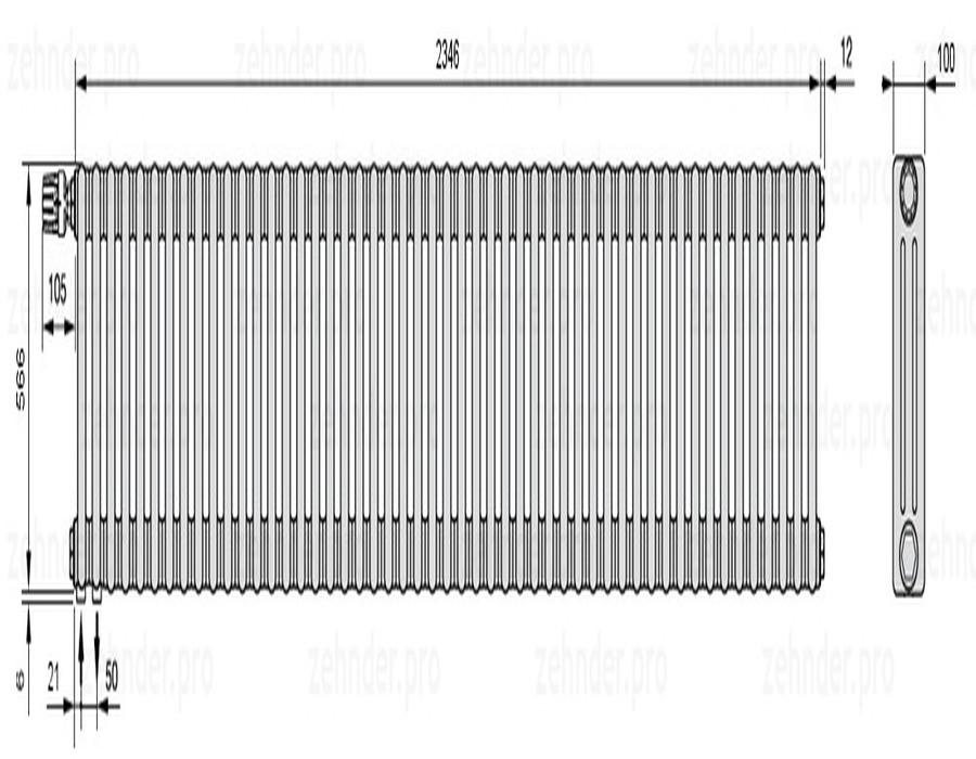 Стальной трубчатый радиатор 3-колончатый Zehnder Charleston 3057/51 TL