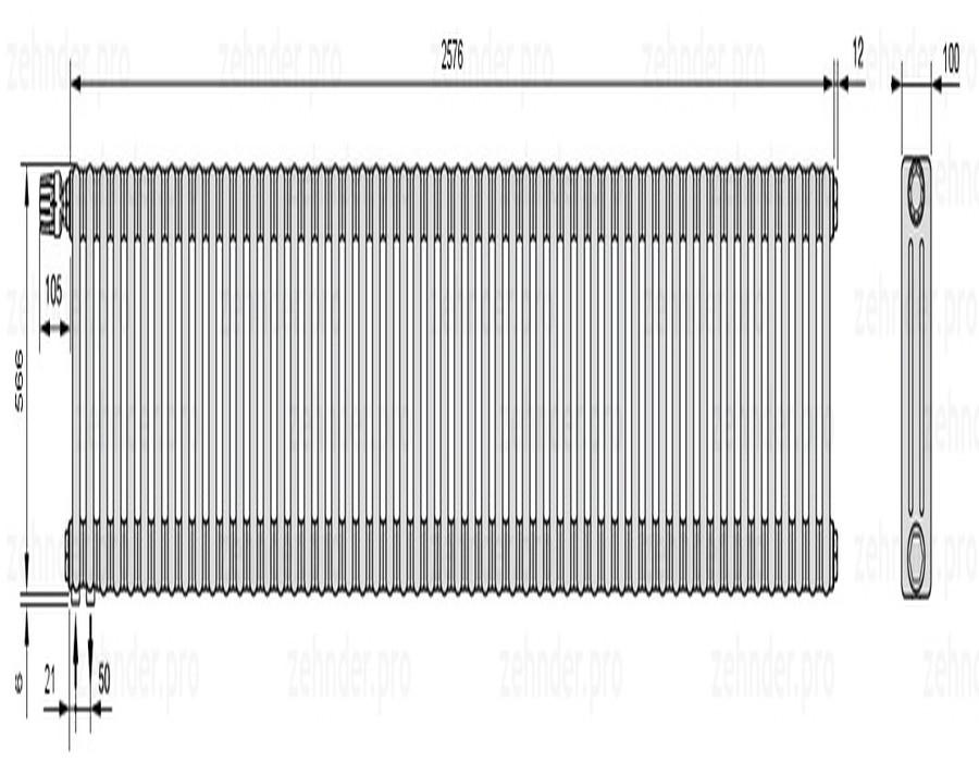 Стальной трубчатый радиатор 3-колончатый Zehnder Charleston 3057/56 TL