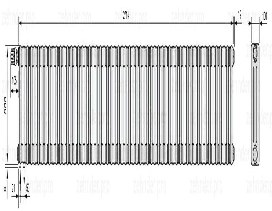 Стальной трубчатый радиатор 3-колончатый Zehnder Charleston 3057/59 TL
