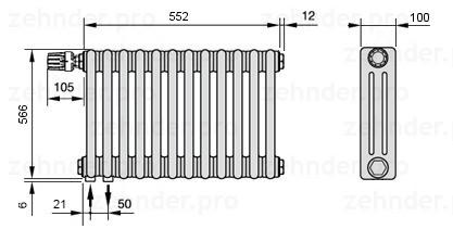 Стальной трубчатый радиатор 3-колончатый Zehnder Completto 3057/10