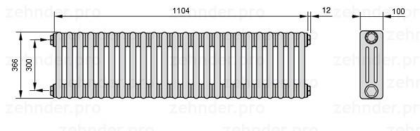 Стальной трубчатый радиатор 3-колончатый Zehnder 3037/24