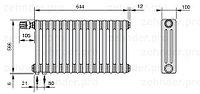 Стальной трубчатый радиатор 3-колончатый Zehnder Completto 3057/14