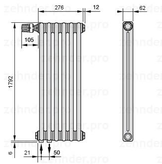 Стальной трубчатый радиатор 3-колончатый Zehnder 3180/6 Completto