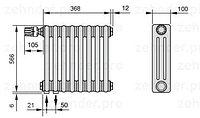 Стальной трубчатый радиатор 3-колончатый Zehnder Charleston 3057/10 TL