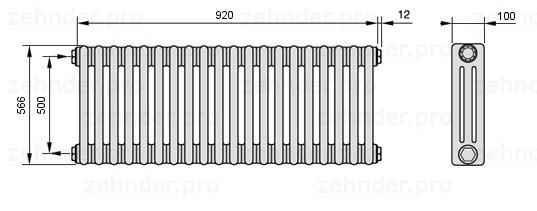 Стальной трубчатый радиатор 3-колончатый Zehnder 3180/8